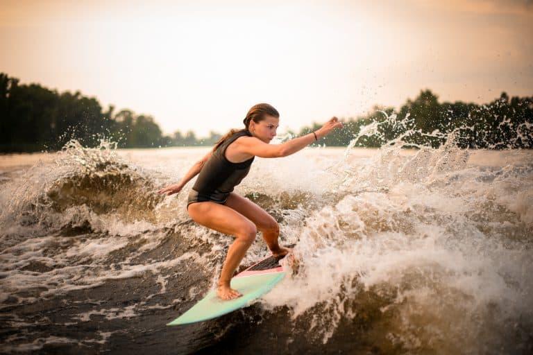 girl wakesurfing
