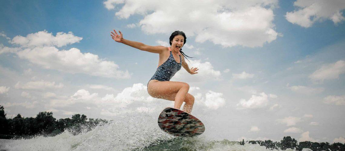 Woman Wakesurfing